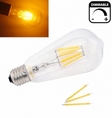 Dimmable ST64 LED Bulb 4W 8W E26/E27 Filament Light Bulb 110V/220V Vintage Edison Lamp Retro Transparent Glass Appearance