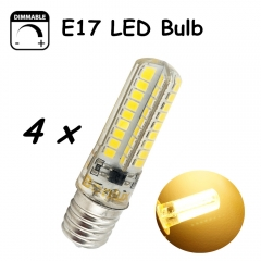 E17 LED Dimmable Bulb 5 Watts AC100-130v LED E17 Light 450lm Silicone Coated Lamp With 40W Halogen Bulb Replacement-Pack of 4