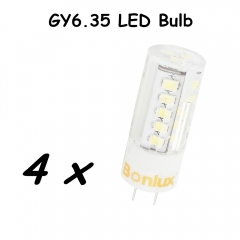 4W LED GY6.35 Bulb Light 110V 220V G6.35 LED Light Lamp 360 Degree Beam Angle Bulb with 25W 35W Halogen Bulb Replacement-Pack of 4