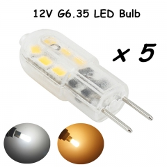 LED G6.35 Bulb Light 12V 3W Bi-pin Base JC Type GY6.35 Led Light 20W Halogen Replacement for Landscape Lighting-Pack of 5
