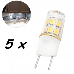 G8 LED Bulb 2W T4 G8 Base Led Crystal Lamp Replace 20W Halogen G8 for Under Counter Kitchen Lighting, Under-cabinet Light, Puck light-Pack of 5