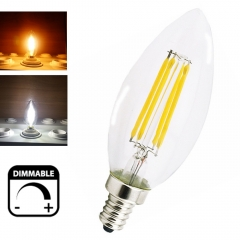 Dimmable 2W 4W LED E14 Filament Bulb Candelabra Light 220V European Base LED Torpedo Shaped Candle Lamp-Pack of 5