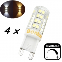 4-Packs 4W G9 LED Light Bulb Dimmable Crystal Corn Bulb 40W Halogen Equivalent G9 LED Bulb for Chandelier Lighting, Cabinet Light, Landscape Lighting