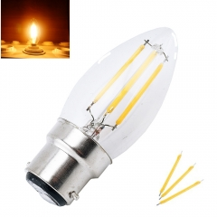 LED B22 Filament Bulb Light 2W 4W Bayonet Base Candle Bulb 220V C35 LED Torpedo Shaped   Lamp for Crystal Chandelier Lighting-Pack of 4