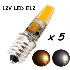 12V E12 LED Light Bulb 2W Omni-directional Candelabra Bulb 200lm E12 Base Bulb Lamp Mini Silicone LED Lights-Pack of 5
