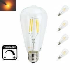 Dimmable LED ST64 4W 8W Vintage Edison Bulb Lamp E26 E27 LED Filament Light Bulb with Retro Incandescent Appearance Pack-4