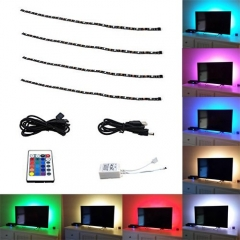 5V USB LED TV Backlight RGB Strip Light Kit with Remote Controller Multi-color 5V USB Powered Waterproof LED Flexible Strip Bias Lighting (4X 500MM)
