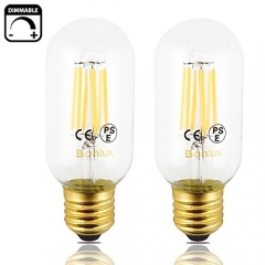 6W LED Vintage Edison T14 Tubular Filament Bulb 110/220V Medium E26 Base Clear Glass LED T45 Decorative Light 60W Incandescent Replacement (Pack of 4)