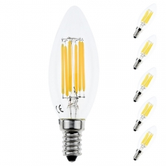 6W C35 Edison Base E14 LED Filament Bulbs Chandelie LED Bulb Bathroom Led Light Bulbs,60W Incandescent Replacement (5-pack, Non-dimmable)