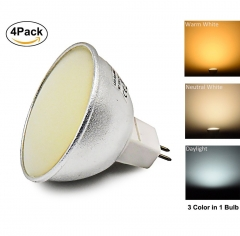 3 Color in 1 MR16 GU5.3 LED Bulb 120/220V 5W Color Temperature Changing LED G5.3 Spotlight 35W Halogen Replacement Bulb for Recessed Lighting (4-Pack)
