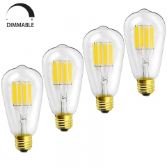 10W Dimmable ST64 Vintage LED Filament Bulb 120V ST21(ST64) Antique Shape Edison Style E26 Medium Base 100W Equivalent Lamps (4-Pack)