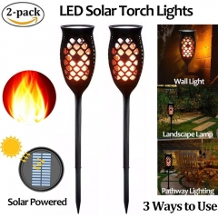 Solar Torch Garden Lights LED Outdoor Waterproof Flame Auto On/Off from Dusk to Dawn Dancing Solar Security Light 5W Warm White 1800-2200k (2-Pack)
