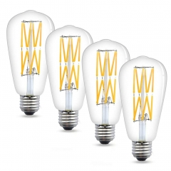 12W Dimmable Vintage Edison LED Bulb ST21/ST64 LED Filament Lights Medium Base E26 LED Bulb 120 Watts Incandescent Equivalent (4-Pack)