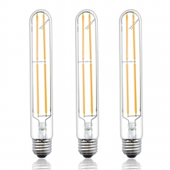 Dimmable T10 LED Filament Light Bulbs 8 Watts T10 LED Tubular Bulb 120V LED Tube Bulb Medium E26 Base 80 Watt Incandescent Equivalent (3-Pack)
