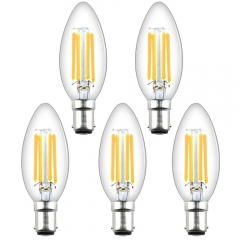 4W B15d Filament LED Candle Bulb C35 B15 Dimmable Edison Vintage SBC Small Bayonet Cap Candle Light Bulbs for 35-40W Incandescent Replacement (5-Pack)