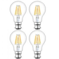 B22 LED Filament Bulb 8W 750lm ES A60 Globe Edison Screw LED Light Bulb 70W Equivalent Dimmable Low Energy Bulbs (4-Pack)