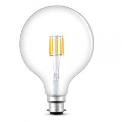 8W G125 B22 LED Filament Globe Bulb Dimmable 125mm Bayonet Cap BC LED Antique Edison Filament Bulb 70 Watt Incandescent Replacement(1-Pack)