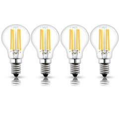 E14 LED Filament Mini Globe Bulb 4W G45 SES Edison Screw LED Bulb Vintage Filament Edison Bulb 40W Incandescent Equivalent (Non-dimmable, 4-Pack)