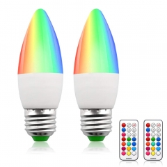 Lustaled Dimmable RGB + Warm White LED Color Changing Light Bulbs C35 E26 Color LED Memory Timer Function with Remote Control for Decoration Lighting