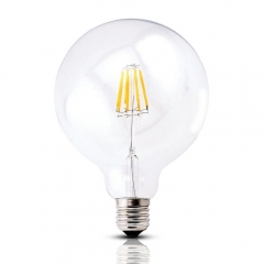 Bonlux Dimmable LED G125 Filament Light Bulb G40 Vintage Edison Glass Bulb 4W/8W E26/E27 Base Clear Glass Light Big Global Indoor Lamp