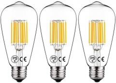 For UK 100% Free 10W ST64 E27 LED Filament Bulb Warm White 100W Incandescent Equivalent