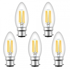 For UK 100% Free 4W C35 B22 LED Candle Filament Bulb Dimmable Small Bayonet Cap Candle Light Bulbs Equivalent 35-40W Incandescent Bulb