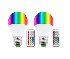 Colour Changing RGB E27 Dimmable LED Bulb 10W 12 Color, Memory & Timing Function, Edison Screw RGBW Coloured LED Light Bulbs