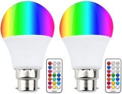 Colour Changing RGB B22 Dimmable LED Bulb 10W, RGB + Warm White, 12 Color, Memory & Timing Function, Bayonet RGBW Coloured LED Light Bulbs(2 Set)