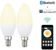 E14 LED Bluetooth Lampe Dimmbar Smart Birne 5W 350lm Bettlampe AC 220V 2700K-6500K Leuchtmittel Steuerbar via Mesh Lamp App
