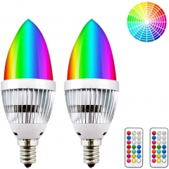 3W Dimmable RGBW LED E12 Candelabra Base Bulb - Lustaled Color Changing C35 LED E12 Chandelier Light Bulbs with Romote Controller