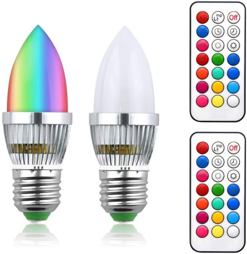 RGB E27 LED lamp 3W dimmable C35 candle bulb 220V RGB + cold white 6000K light bulb 16 color changing bulbs 120 ° with IR remote control